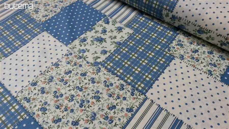 Bavlnená látka PATCHWORK modrá  08756b9cdf8