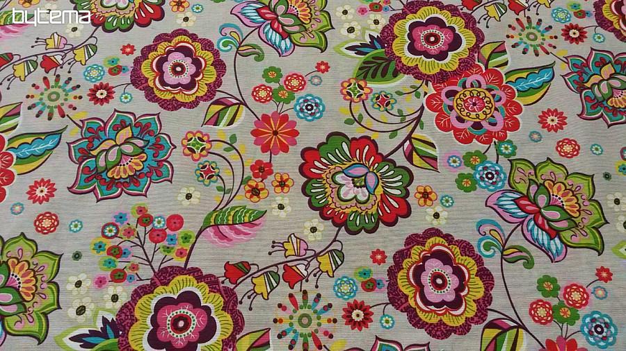 72256818ae65 Dekoračná látka OLGA kvet farebný